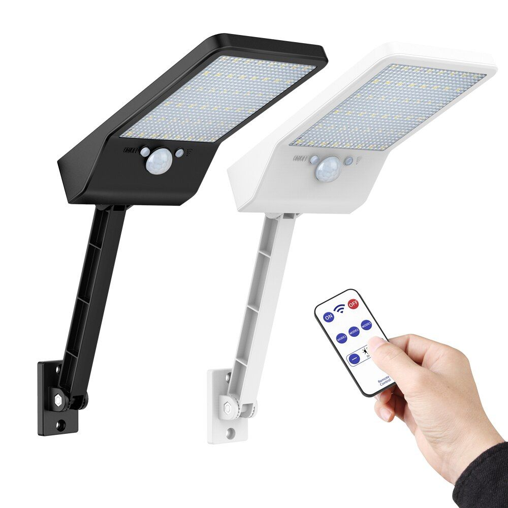 Nouveau 48 LED 800 LM emote contrôle rotation support solaire réverbère extérieur énergie solaire rue applique rPIR capteur de mouvement