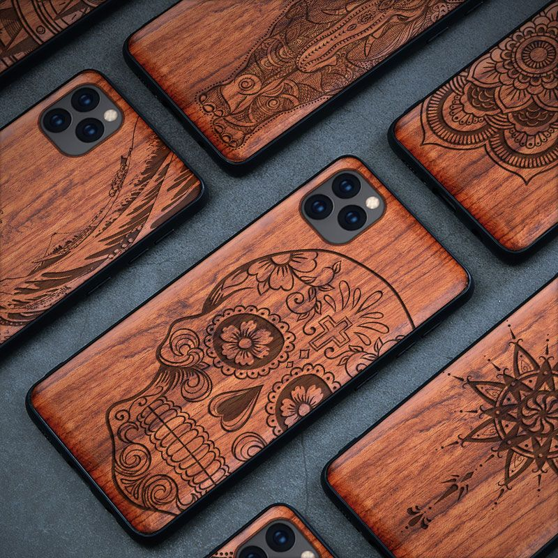 Étui pour samsung en bois naturel Galaxy Note 9 8 10 Pro S9 S10 Plus 100% étui pour iphone en bois 11 Pro Max 7 8 6 6S Plus X XR XS Max