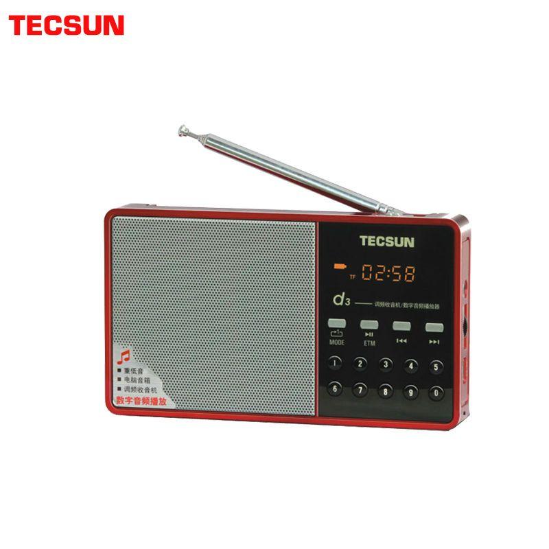 Livraison gratuite TECSUN D3 FM Radio haut-parleur numérique FM 64-108 lecteur MP3