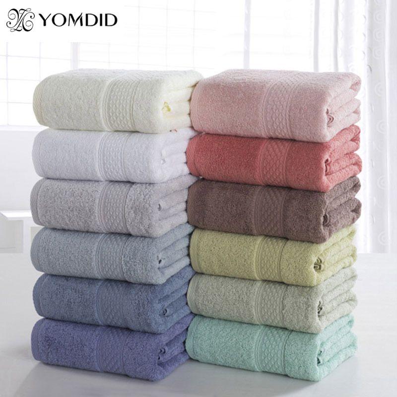 100% coton solide serviette de bain serviette de plage pour adultes séchage rapide doux 17 couleurs épais haut absorbant antibactérien