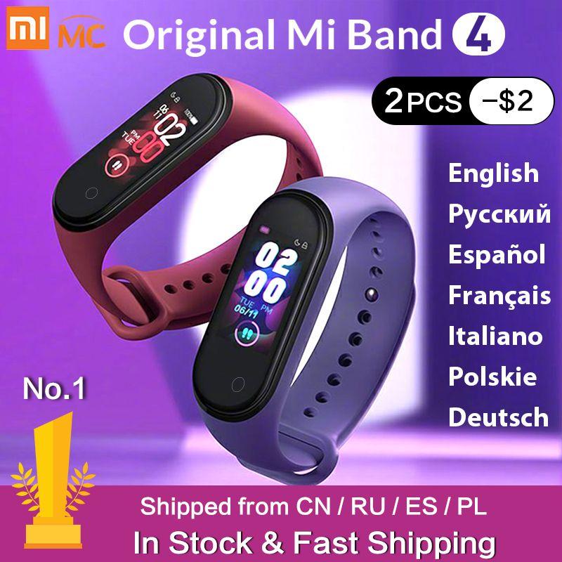 En Stock Original Xiao mi bande 4 Smart mi bande 3 couleur écran Bracelet fréquence cardiaque Fitness Tracker bluetooth 5.0 étanche Band4