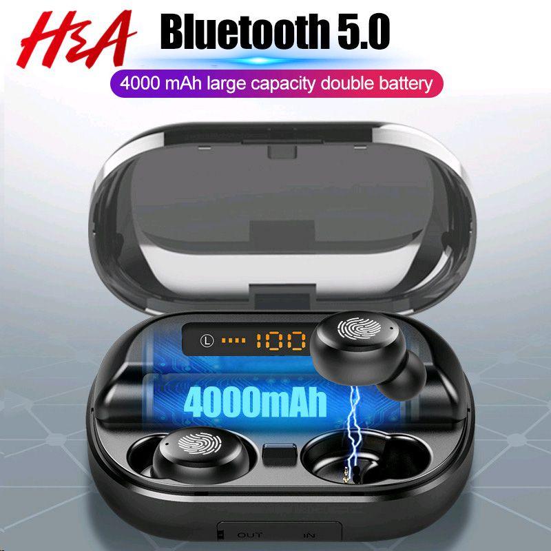 H&A TWS 5.0 Bluetooth 9D Stereo Earphone Wireless Earphones IPX7 Waterproof Earphones Sport Headphone With 4000mAh Power Bank
