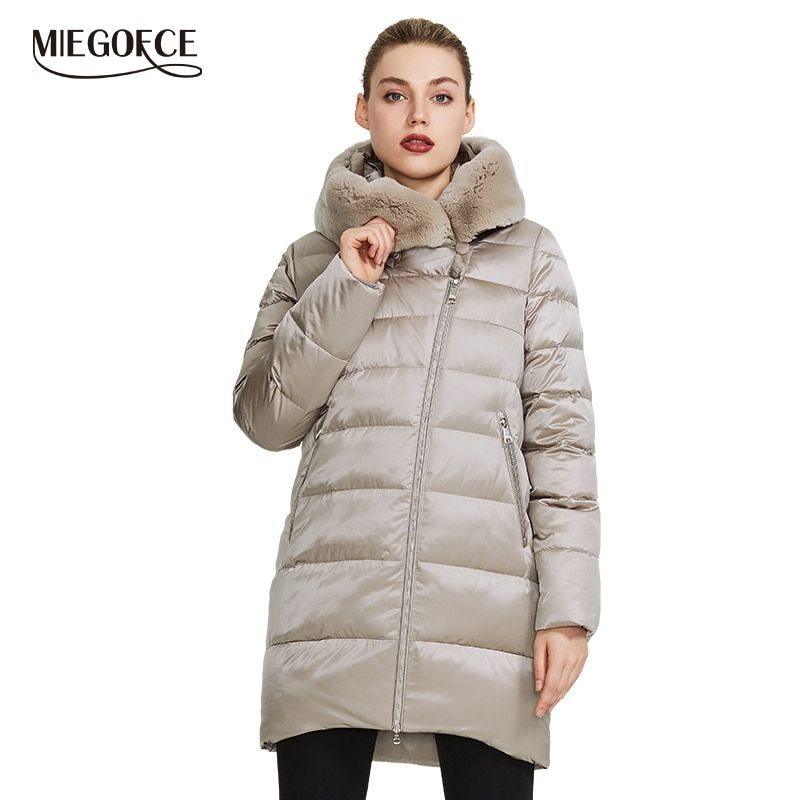 MIEGOFCE 2019 Winter frauen Sammlung frauen Warme Jacke Mantel Winter Winddicht Stand-Up Kragen Mit Kapuze und kaninchen Fell-Parka