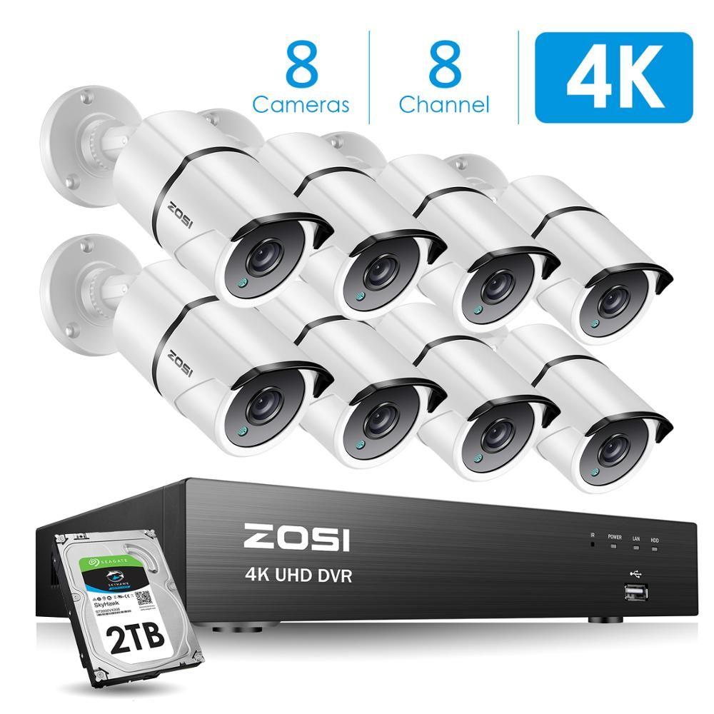 ZOSI 4K 8CH Ultra HD CCTV Kamera System H.265 + DVR Kit mit 2TB HDD 8PCS 8MP TVI Outdoor Home Video Security Surveillance System