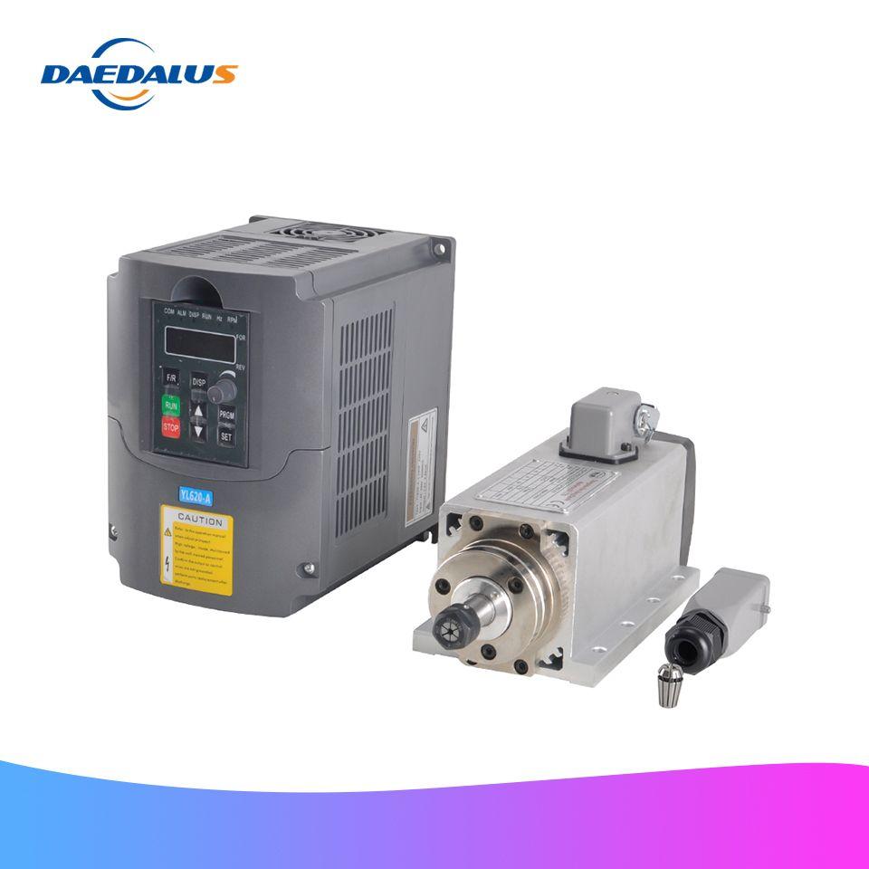 Luftgekühlte Spindel 800W 220V Platz Spindel ER11 Fräsen Motor 1.5KW VFD Inverter Frequenz Konverter Für CNC Stecher