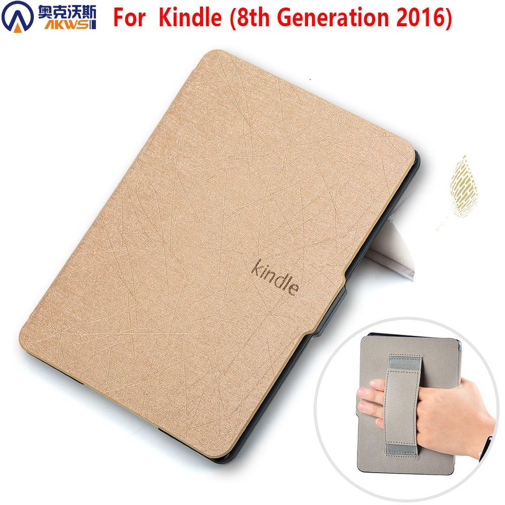 Housse pour kindle 8 E-reader (8th Generation 2016) étui en cuir pour kindle 8th 2016 avec main grap