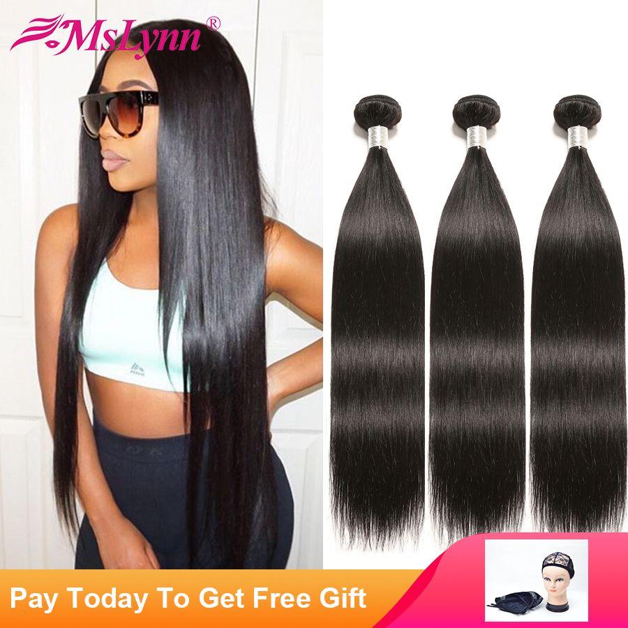 Cheveux raides paquets brésiliens de cheveux tissés paquets de cheveux humains 4 ou 3 paquets Non Remy Extensions de cheveux noir naturel