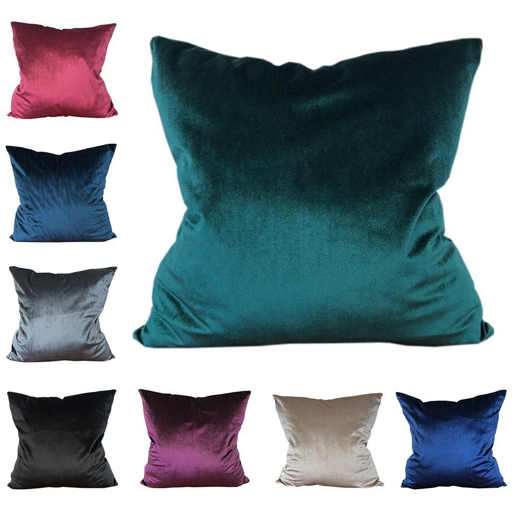 CURCYA confortable solide couleurs velours housse de coussin doux canapé taille décoratif jeter oreiller couvre cas cadeau de noël