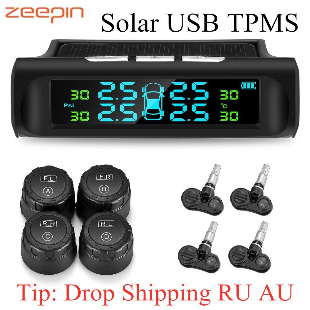 Zeepin C240 TPMS solaire USB charge voiture système de surveillance de la pression des pneus écran LCD système d'alarme 4 capteurs internes externes