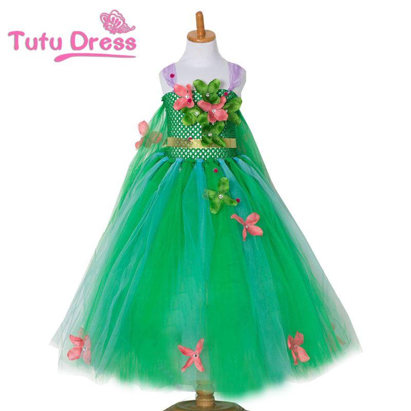 Bébé robes fille vert fée fleur Tutu robe Cosplay princesse Elsa robe enfant fête d'anniversaire robes fleur inspiré à la main