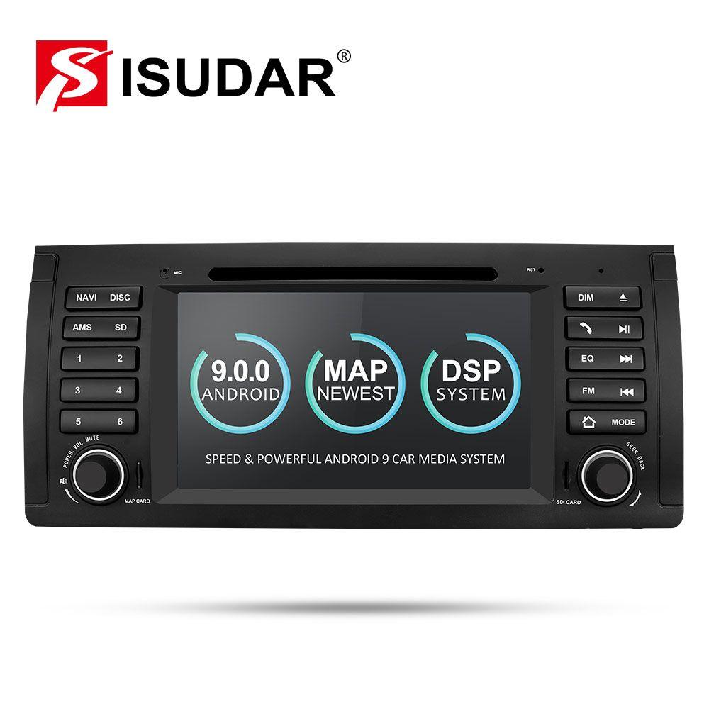 Lecteur multimédia de voiture Isudar Android 9 GPS un lecteur DVD Din pour BMW E39 5 Series M5 2GB RAM 16GB ROM Radio Wifi lien miroir