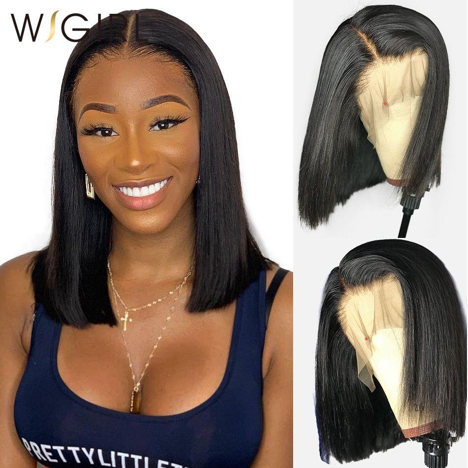 Wigirl droite 13x6 dentelle avant cheveux humains perruques 8-16 pouces sans colle Bob court Frontal perruque Brazilan pré plumé pour femme noire