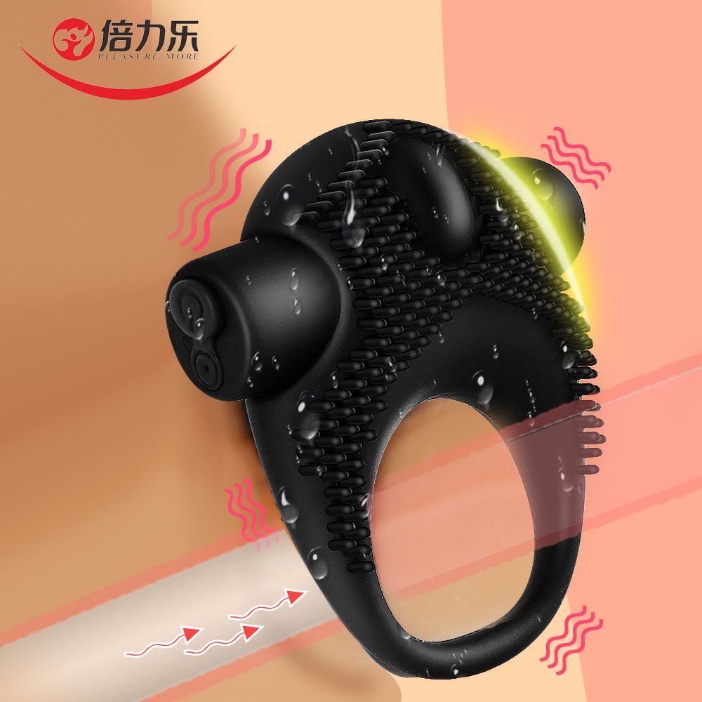 Beilile retardé éjaculation anneau de pénis vibrateur goujons USB charge Silicone anneau de bite vibrant sur la bite pour le sexe pour les hommes Cockring