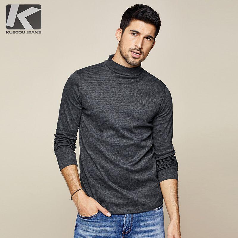 KUEGOU 2019 automne coton plaine blanc T-shirt hommes T-shirt marque T-shirt à manches longues T-shirt mode vêtements haut de grande taille 803
