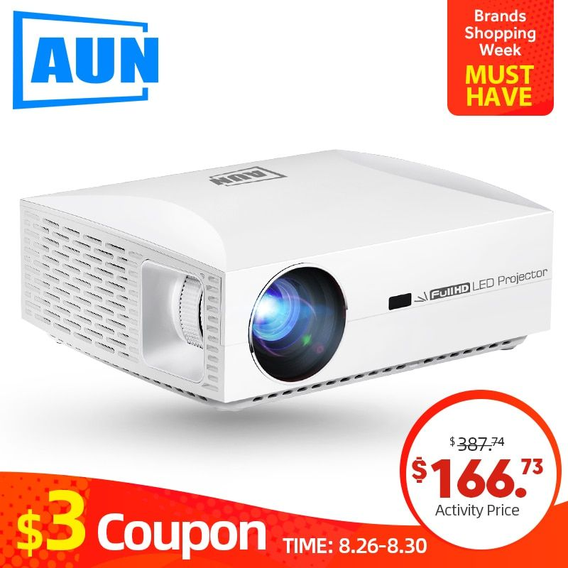 AUN projecteur Full HD F30UP, 1920x1080 P. Android (2G + 16G) 5G WIFI, mini projecteur LED pour Home cinéma, Support vidéo 4K