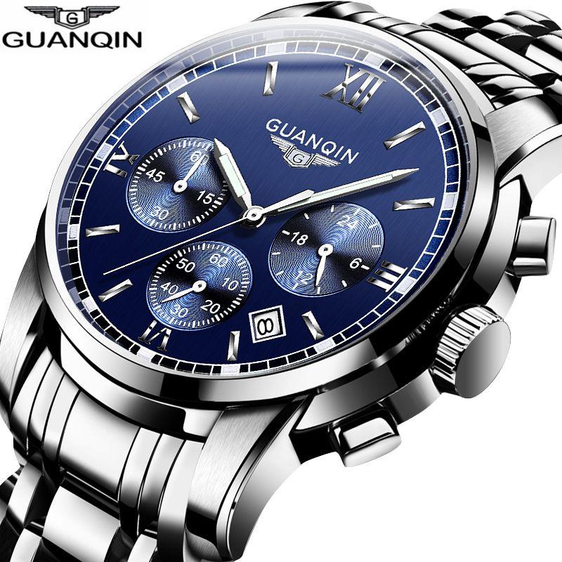 GUANQIN nouveau Relogio Masculino hommes montres haut de gamme de luxe Quartz affaires chronographe montre natation montre-bracelet relojes hombre