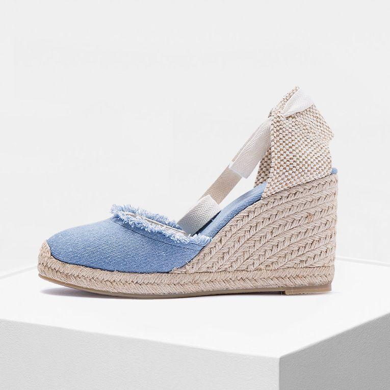 Femmes espadrilles compensées en toile 2019 Sping et été 9cm hauteur de talon effiloché femmes chaussures