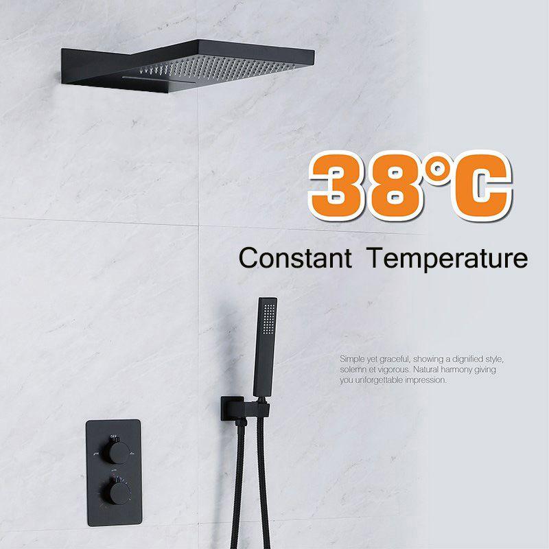 38 ° konstante Temperatur Embedded Dark Laden Wand Bad Alle Kupfer Wasserhahn Dumm Schwarz Heiße Und Kalte Dusche Zimmer Dusche wasserhahn set