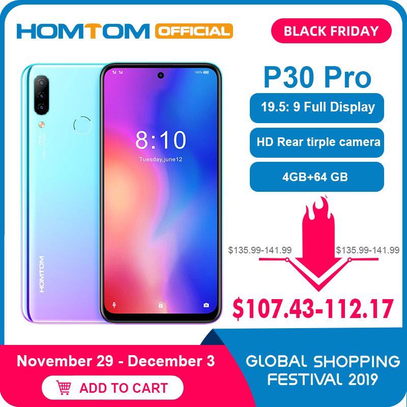 HOMTOM P30 pro Android 9.0 4G Handy MT6763 Octa Core 4GB 64GB 4000mAh 6,41 zoll Gesicht ID 13MP + Triple Kameras Smartphone