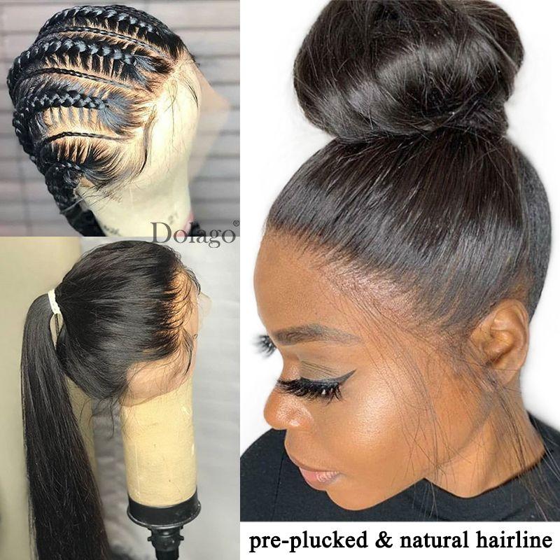 Perruque de cheveux humains droite sans colle pleine dentelle 250 densité HD Transparent faux cuir chevelu perruque pré plumée avec des cheveux de bébé Dolago Remy
