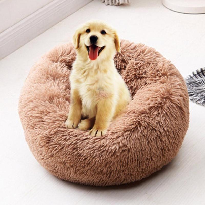 Lit de chien rond lavable Long en peluche chien chenil maison de chat Super doux coton tapis canapé pour chien panier Pet chaud lit de couchage