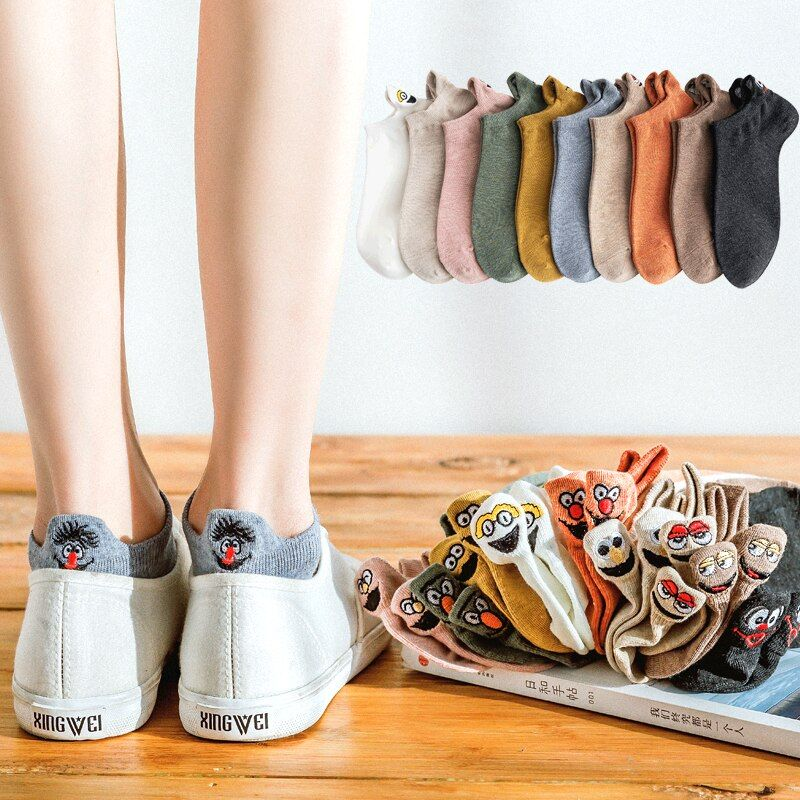 5 paires/pack Kawaii brodé Expression femmes chaussettes heureux mode cheville chaussettes drôles femmes coton été couleur bonbon