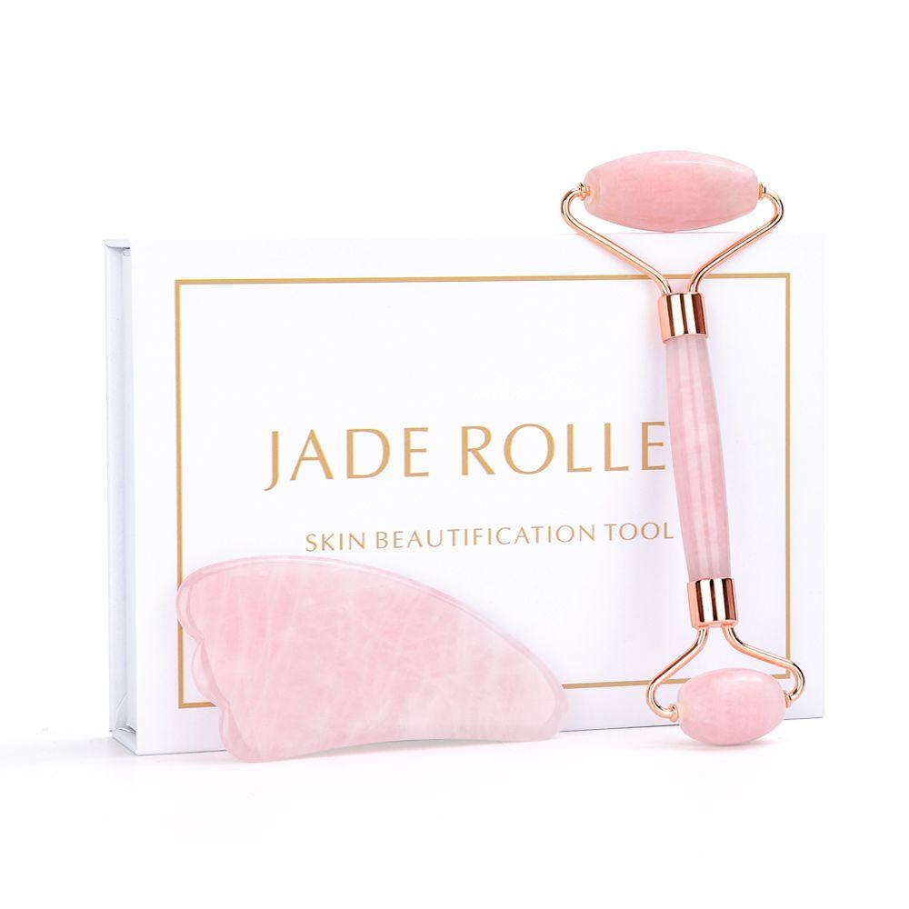 Rouleau de Jade Rose naturel Massage du visage pierre de cristal Jade masseur rouleau de cristal rouleau de peau rouleau de Massage élimination des rides
