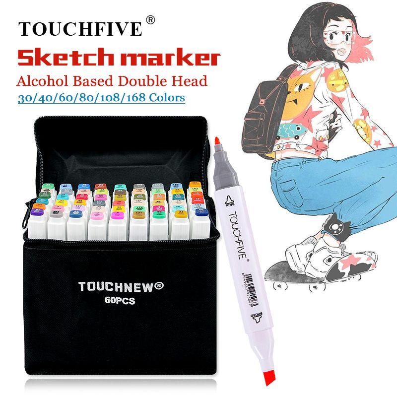 TouchFIVE 30/40/60/80/168 marqueur de couleur Manga dessin marqueurs stylo à base d'alcool Double tête croquis huileux pinceau stylo Art fournitures
