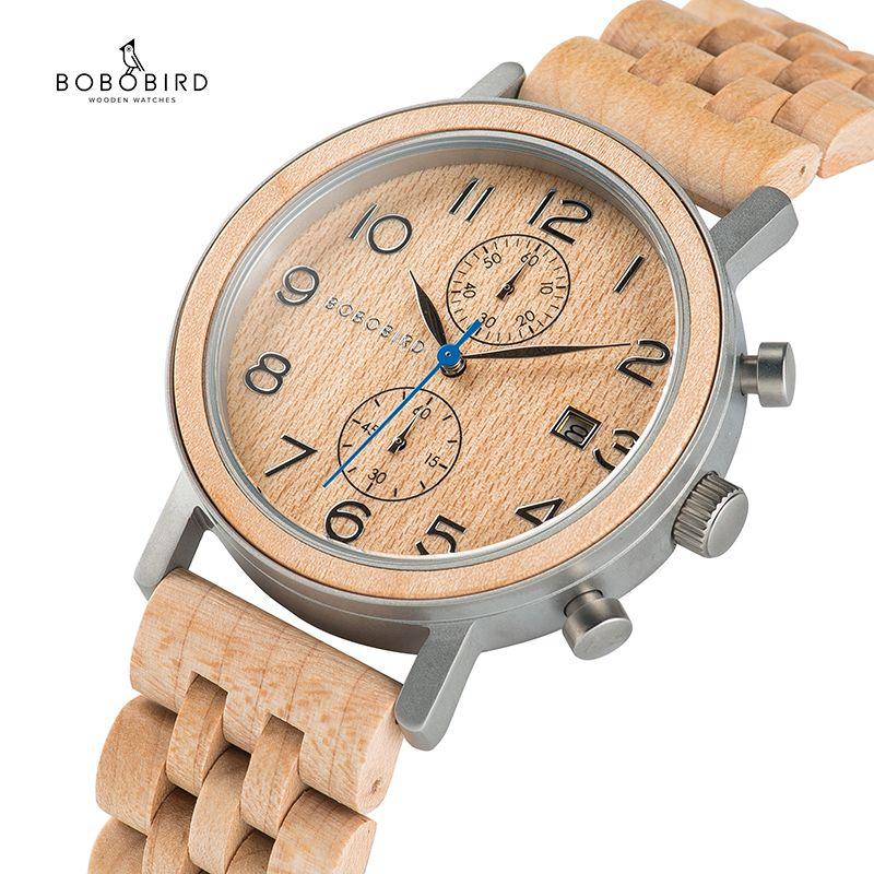 Reloj hombre BOBO VOGEL männer Uhr Handgemachte Holz Uhren Holz Metall Luxus Chronograph 2019 Super Geschenk C-S08