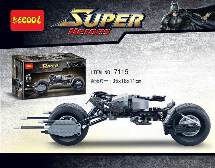 Decool 7115 Super Héros Le Chevalier Noir Legoinglys Batman Batmoto Batmobile 338 pièces Briques Batpod Blocs De Construction Jouets