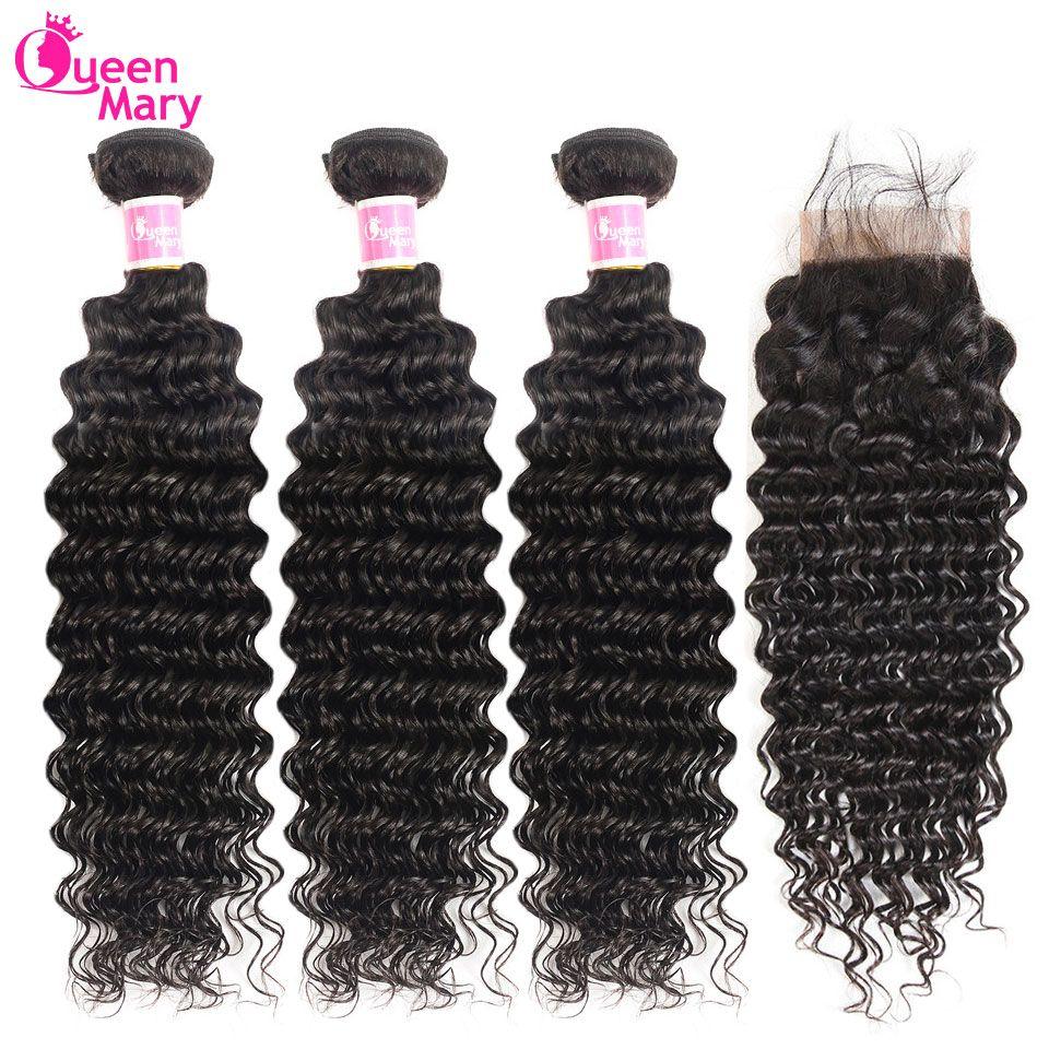 Paquets brésiliens de vague profonde avec des cheveux Non Remy de fermeture 3 et 4 paquets avec des prolongements de cheveux humains de la reine Mary de fermeture de dentelle