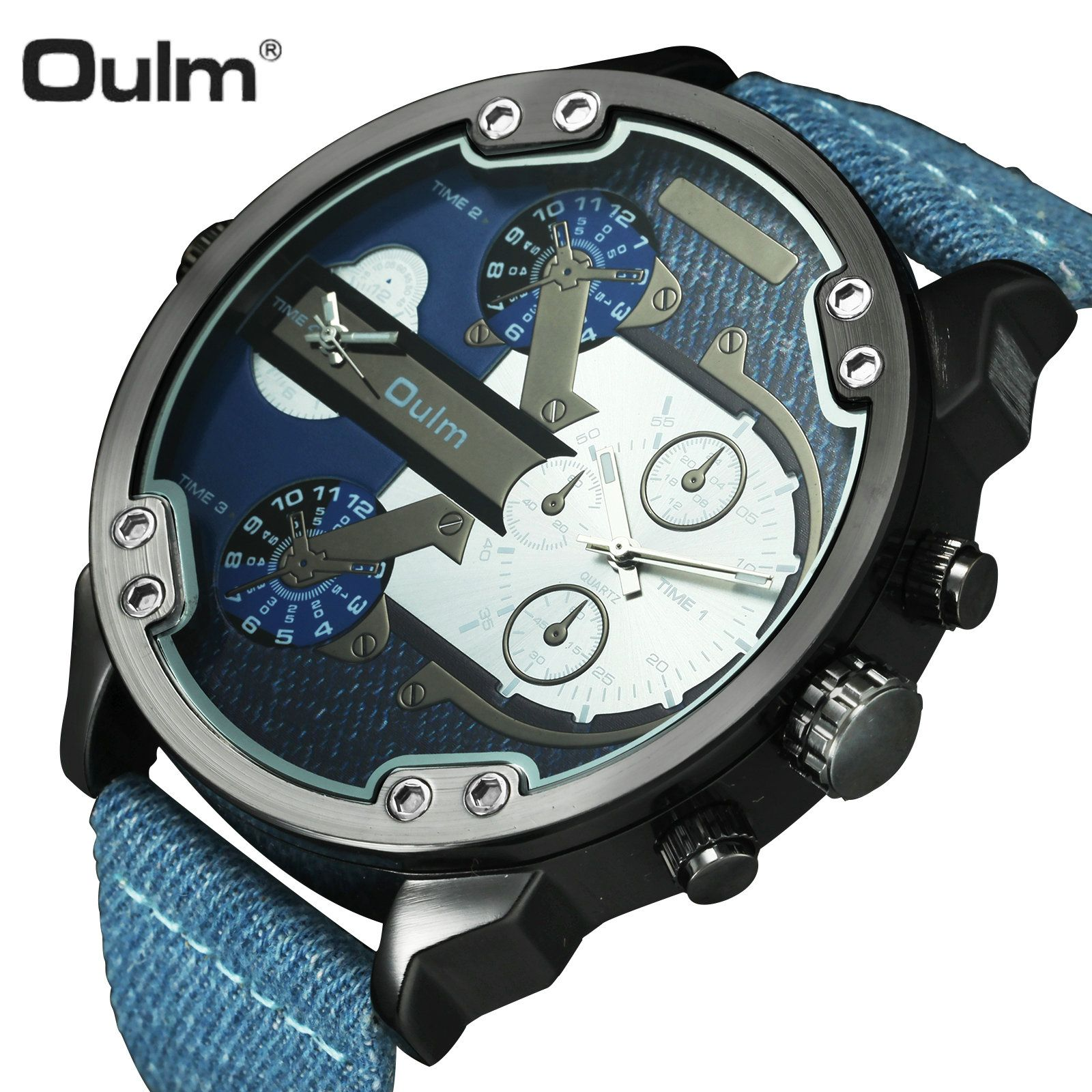 OULM Sports Quartz Watch Men Big Case Military Mens Watches Top Brand Luxury Canvas Strap 2 Time Zone Fashion Casual Wristwatch