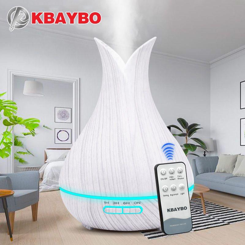 400ML télécommande ultrasons Grain de bois humidificateur aromathérapie arôme huile essentielle diffuseur pour la maison Bebe
