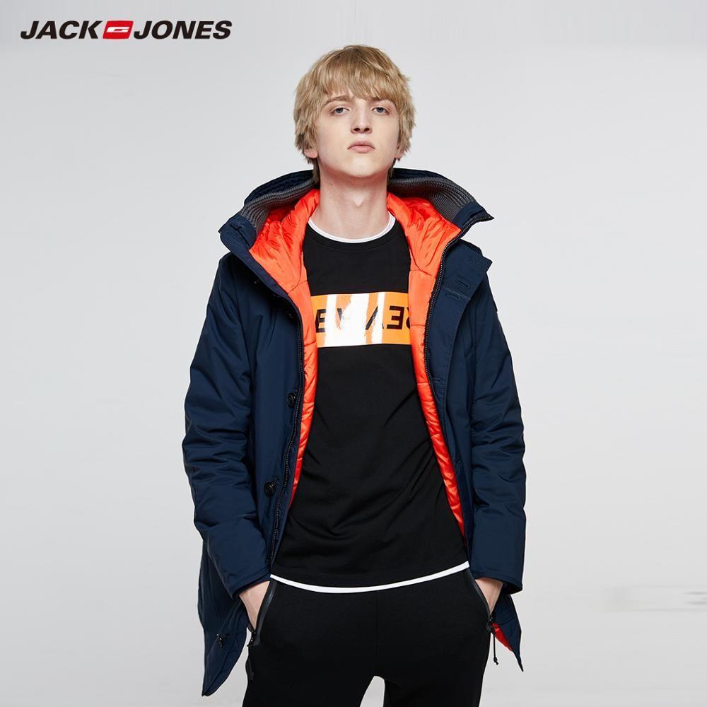 JackJones hommes hiver à capuche Parka manteau longue veste de luxe pardessus 2019 nouveau homme vêtements 218309511