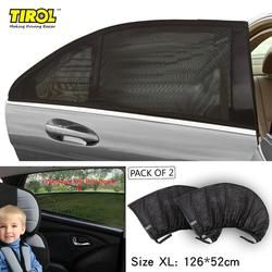 TIROL Rear Window 2PC Mesh UV Protection Car Side Door Sun Shades Set Free Shipping T11724a Outdoor Travel Baby Size XL 126X52cm