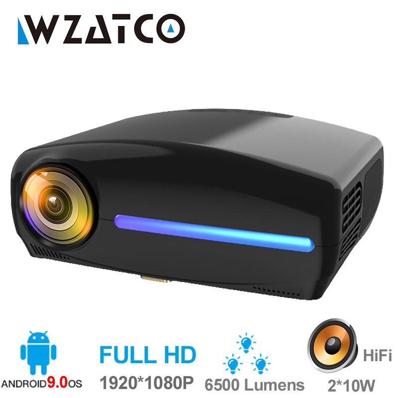 WZATCO C2 1920*1080P Volle HD 45 grad Digitale keystone LED Projektor android 9.0 Wifi Optional Tragbare Hause Proyector beamer
