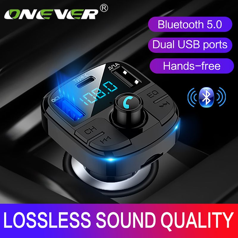 Onever Bluetooth 5.0 Fm Transmitter Car Kit MP3 Modulator Car Charger QC3.0 Double USB With LED Lattice screen EQ Mode 2019 NEW
