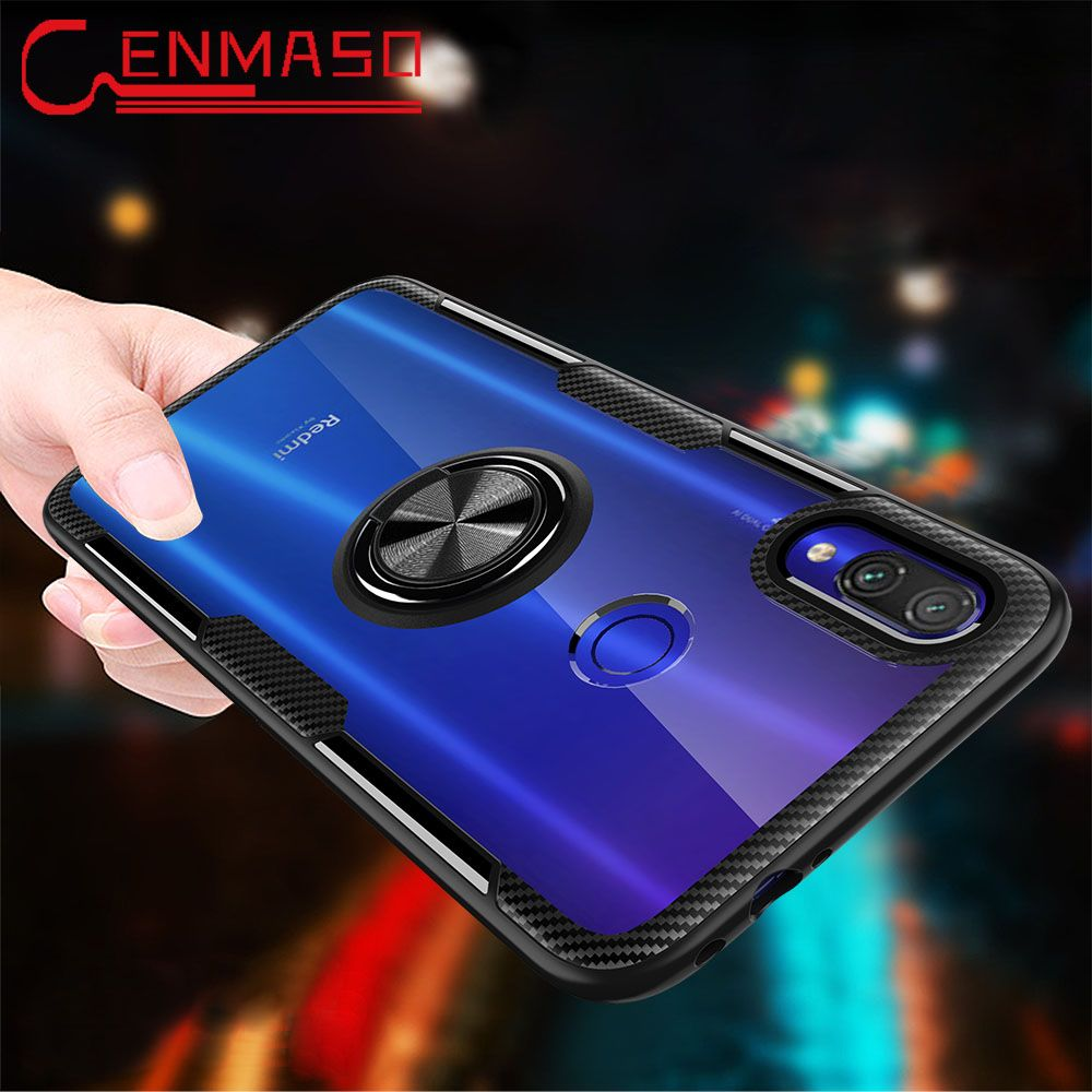 For Xiaomi Redmi Note 7 Case Clear Armor Back Cover For Xiaomi Redmi 7 K20 Magnetic Car Holder Case Mi 8 Lite 9T Mi9 9 SE funda for Xiaomi Redmi Note 8 Pro case Finger Ring transparent shockproof armor capa