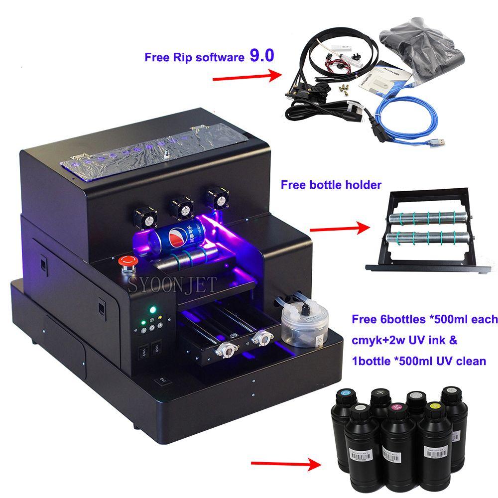 Volle automatische UV drucker A4 UV uv-led-flachbettdrucker Flasche Drucker mit 3500ml UV tinte set Für telefon fall Zylinder holz glas druck