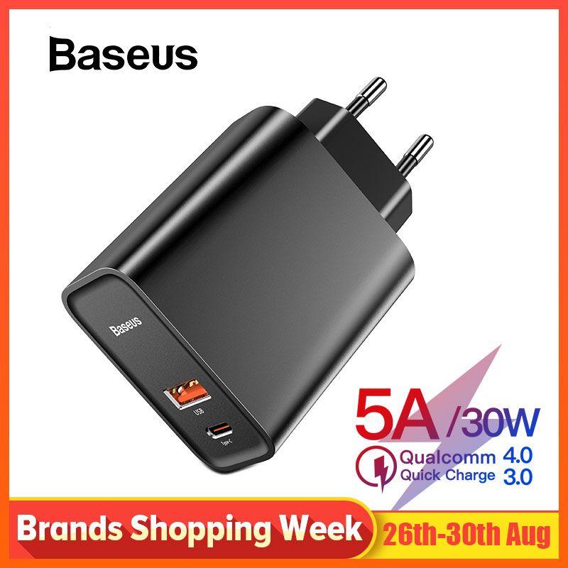 Chargeur rapide 4.0 3.0 USB Baseus pour Redmi Note 7 Pro 30W PD 5A chargeur rapide de téléphone pour Huawei P30 iPhone X XR