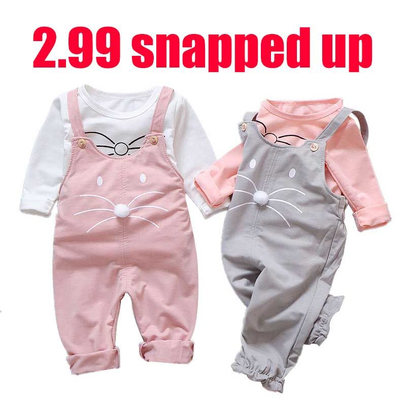 Baby girl's clothes strap suit baby girl clothes cartoon print cotton casual t-shirt + bib baby girl cute clothes two-piece