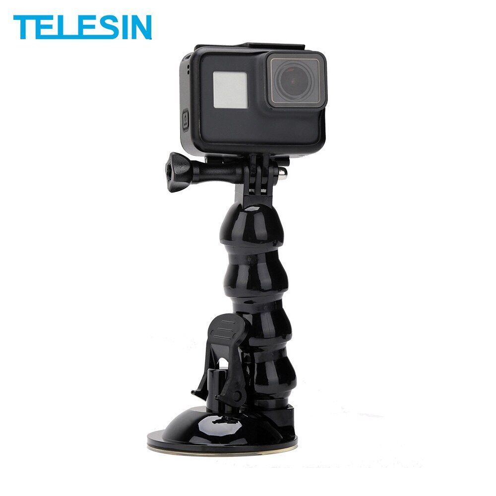 TELESIN Jaws Flex Suction Cup Car Window Mount Holder with Flexible Gooseneck Extension for GoPro Xiao Yi 4K For DJI Osmo Action
