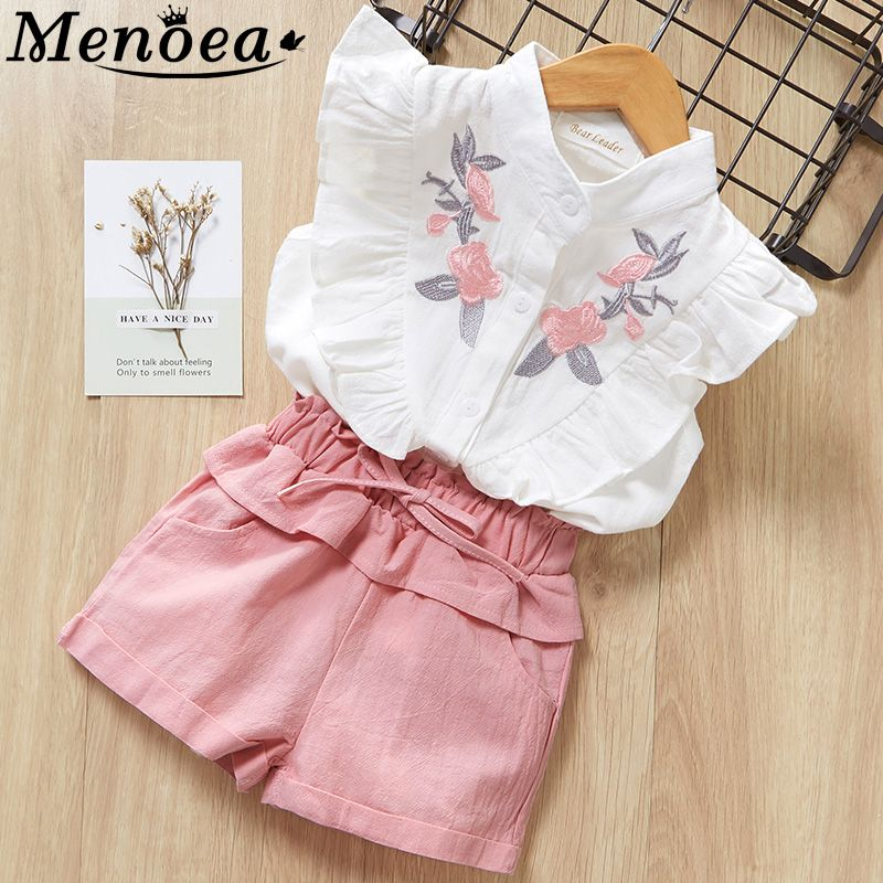 Menoea Girls Suits 2019 Summer Style Kids Beautiful Floral Flower Sleeve Children O-neck Clothing Shorts Suit 2Pcs Clothes