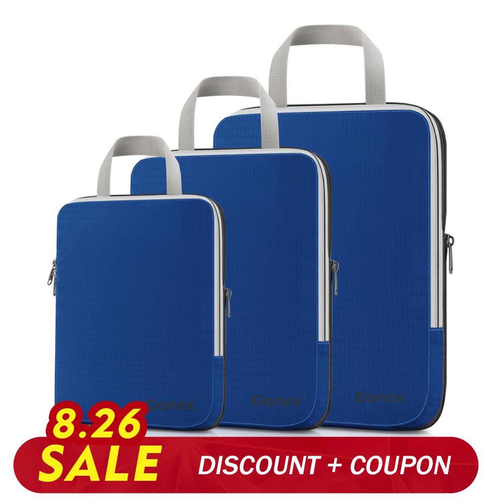 Gonex 3 pièces/ensemble sac de rangement de voyage valise organisateur de bagages suspendus Ziplock vêtements Compression emballage Cubes garçon ami cadeau