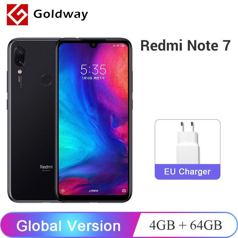 Version mondiale Xiaomi Redmi Note 7 4GB 64GB SmartPhone Snapdragon 660 Octa Core 48MP double caméra 6.3 19.5: 9 plein écran 4000mAh