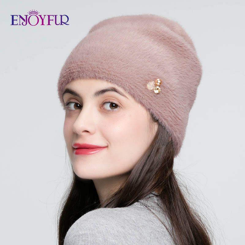 ENJOYFUR hiver chapeaux pour femmes imiter laine épais Bonnet pour femme solide couleurs haute qualité strass Cap nouveaux crânes bonnets