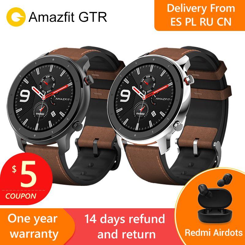 2019 Amazfit GTR 47mm montre intelligente avec GPS 5ATM étanche 24 jours d'autonomie batterie 12 sport mode Bluetooth AMOLED écran