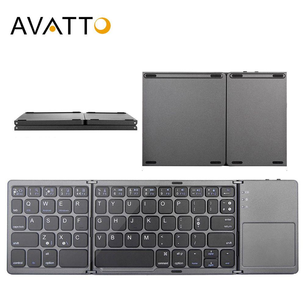 AVATTO B033 Mini clavier pliant Bluetooth pliable sans fil clavier avec pavé tactile pour Windows, Android, ios tablette ipad téléphone