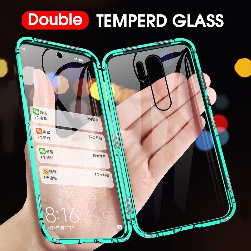 Coque de protection Double face magnétique 360 Coque pour Redmi Note 8 Pro coque arrière en verre trempé Coque pour Xiaomi Note 8 Redmi Note 7