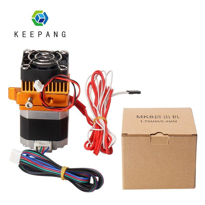 MK8 extrudeuse tête j-head Hotend 0.4mm buse Kit 1.75mm Filament Extrusion 3D imprimantes pièces avec boîte moteur gorge aluminium partie